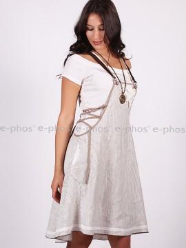 Комплект от две части-ленен сукман с къса трикотажна рокля
