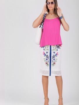 Дамска пола с дизайнерски принт от памучна дантела