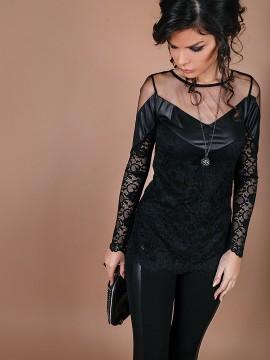 Елегантна дамска блуза от еластична дантела и еко кожа