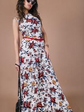 Дълга дамска рокля от фин жоржет