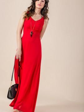 Елегантна дълга червена рокля