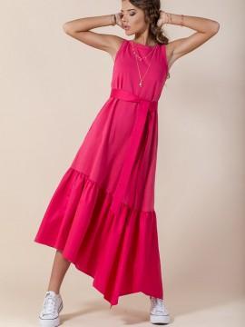 А-симетрична дълга дамска рокля в цвят циклама