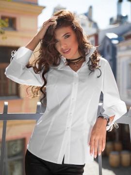 Дамска  риза в бяло с обемни ръкави