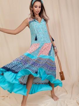 Ефирна дамска рокля с пискюли