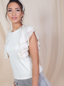Дамска дантелена блуза с волани