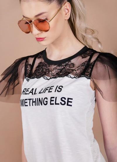 Дамска блуза с ръкави от тюл
