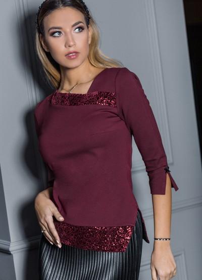 Дамска блуза в бордо и пайети