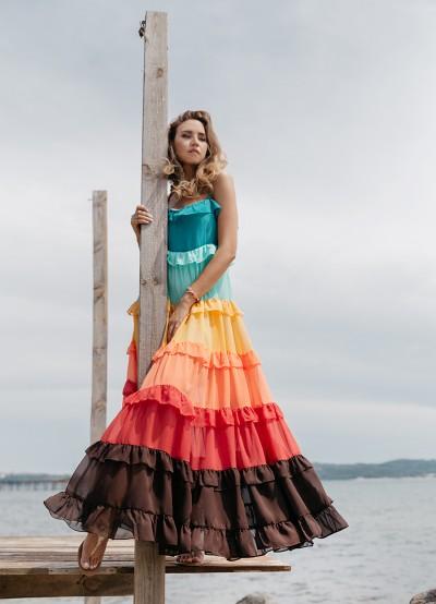 Шикозна многоцветна дамска рокля