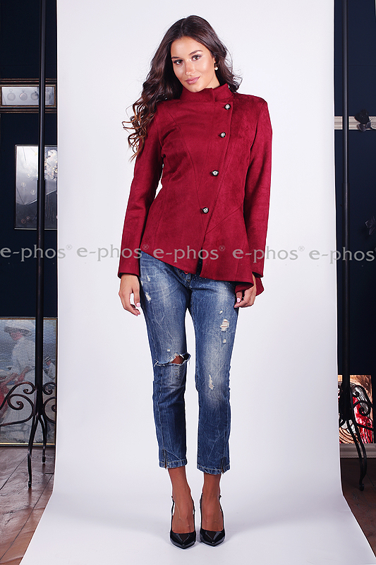 4dbf72fc1bb Асимитрично велурено сако в цвят бордо - Ephos България - Онлайн ...
